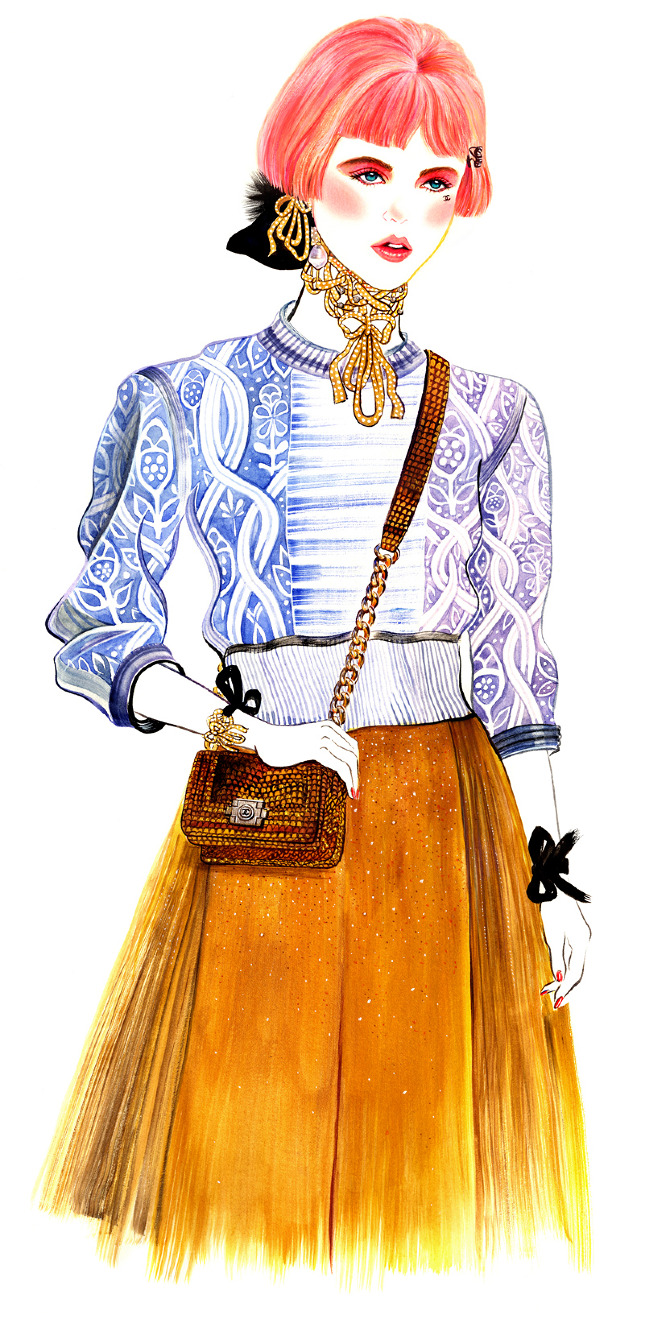 Filed under fashion,  watercolor for  Chanel Resort 2013
